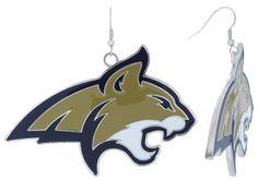 XXL Enamel Montana State Bobcats Game Day Fish Hook Earrings