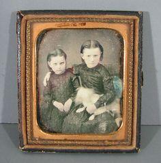 Antique Daguerreotype Two Girls with Dog RARE Photo | eBay
