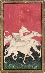 Ambras Court Playing Cards - 5 of Hounds, c.1440-1445