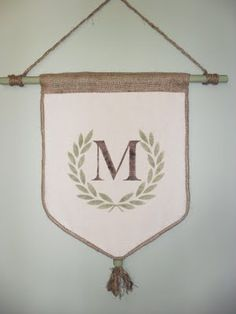 Burlap and canvas monogrammed wall hanging tutorial.  But doing this as a table runner instead.  Love it!