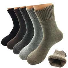 3a95227ce 5 Pairs Lot Thick Wool Socks Men Winter Cashmere Breathable Socks Male Meias  5 Colors Hot