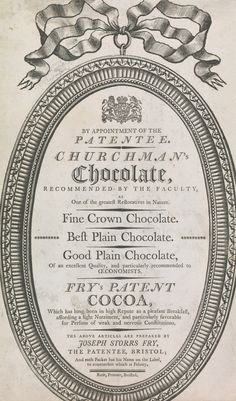 unknown artist, 18th Century, Trade Card for Churchman's Chocolate and Fry's Patent Cocoa, c.1770, , Yale Center for British Art, Paul Mellon Collection