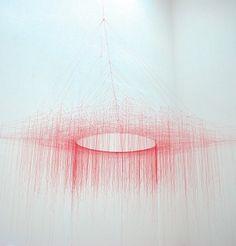 beautiful, minimalist, textile art installation