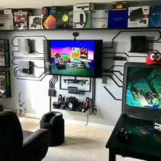 33 Fun Video Game Room Design Ideas For Gamer's Vibe – Elevatedroom – Game Room İdeas 2020 Fun Video Games, Video Game Rooms, Man Cave Video Game Room, Pc Games, Video Game Decor, Video Game Man Cave Ideas, Free Games, Video Game Bar, Video Game Shelf
