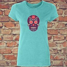Skull Shirt, Skull Tank, Green Shirt, Womens Shirt, Skull Shirt, Day of the Dead Shirt - Womens T Day of the Dead Skull