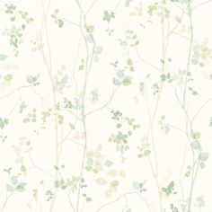 Spring Twig wallpaper from the collection ECO Nature with a beautiful floral pattern in Scandinavian style. Magnolia Wallpaper, Lit Wallpaper, Wallpaper Direct, Green Wallpaper, Painting Wallpaper, Nature Collection, Watercolor Cards, Surface Pattern, Cat Art