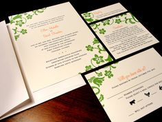 A Touch of the Tropics Beach Custom Color Wedding Invitation Hibiscus Green Orange Fresh Simple Flowers Floral