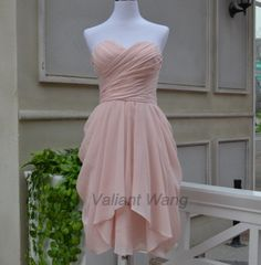 Blush Pink Sweetheart Chiffon Bridesmaid Dress Short Knee Length Ruffles Prom Dress on Etsy, $89.00