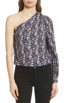 14b7ef70ca2e5 FRAME Floral Print One-Shoulder Top One Shoulder Tops