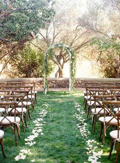 Garden inspired wedding ceremony decor: http://www.stylemepretty.com/california-weddings/mountain-view/2016/01/08/intimate-romantic-outdoor-summer-wedding/ | Photography: Meghan Mehan - http://meghanmehan.com/
