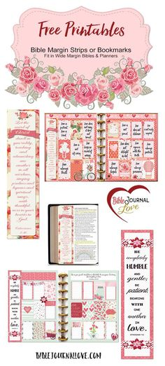 Free planner printable stickers and free printable Bible Journal margin strips (fit wide margin Bible and planners (EC and Happy Planners) #plannerlove #planneraddict #biblejournaling #pomplanner