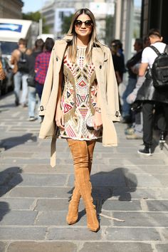 blog da thássia: over the knee boots with a dress and trench