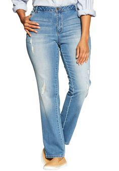 Petite Straight Leg Stretch Jean - Women's Plus Size Clothing