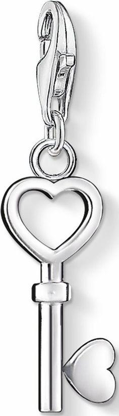 THOMAS SABO Charm-Einhänger »Schlüssel, 0888-001-12« für 24,00€. Herziges Charm, Aus Silber 925, Romantischer Schlüsselanhänger zum Herzen bei OTTO