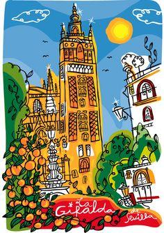 BALCAM DIAGONAL Ilustraciones para colección HAPPY COLOURS. Caramelos y Galletas en cajas metálicas de las principales plazas turísticas de españa. SEVILLA. LA GIRALDA. + info en www.juanmagarcia.net