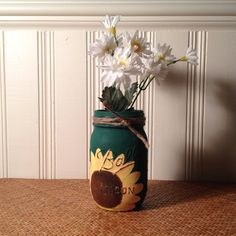 Sunflower Painted Mason Jar