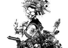 極東少女 Ballpoint Pen Drawings by Shohei Otomo