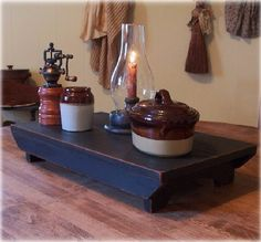 Farmhouse Table Riser Bench / Primitive Kitchen Collectible / Lamp Black. $40.00, via Etsy.