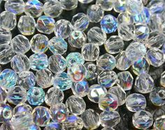 100PCS, Czech beads, Faceted Fire Polish Round, Crystal AB , 4mm
