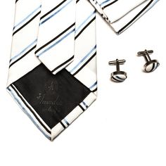 black and blue striped tie set from Amedeo Exclusive