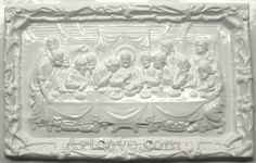 Last Supper Plaster Mold 14-3/4 x 9-1/4 Inch. Mix plaster of paris with water and pour into mold. Let the plaster harden. Now paint your finished mold with acrylic paints.
