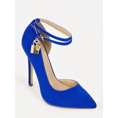 Justfab Pumps Lockette ($40) ❤ liked on Polyvore featuring shoes, pumps, blue, pointed toe platform pumps, blue high heel shoes, pointed toe ankle strap pumps, blue pumps and high heel platform pumps
