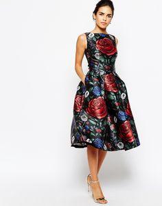 Chi Chi London sukienka wieczorowa midi kwiaty kieszenie