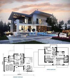 Luxury House Concept with Garage & Pool Area - House And Decors Modern House Floor Plans, Modern Exterior House Designs, Modern House Facades, Dream House Exterior, House Layout Plans, Luxury House Plans, Dream House Plans, Layouts Casa, House Layouts