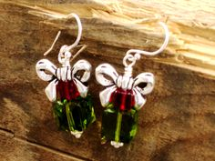 Christmas present earrings of sterling silver & Swarovski cubes