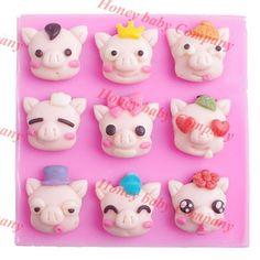 New DIY Cute Multi-face Pig Cake mold baking sugar tool DIY silicone mold cartoon pigs hand soap die chocolate - PinkyPiggy Cake Mold, Diy Tools, Pigs, Silicone Molds, Soap, Cartoon, 3d, Free Shipping, Chocolate
