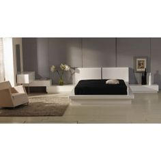 Prestige Modern White inset Lights Lacquer Bed Frame, Nightstand, Chest, and Vanity with Mirror $1590