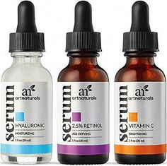 """""""For these firmly dedicated to turning again time on their dermis, ArtNaturals' Anti-Aging Serum Set receives the gold medal. The three serums used in aggregate boost and energize the renewal results on dermis. 20 Percent Diet C Serum diminishes exceptional strains and sun harm; Retinol S... #AntiAgingEyeCream Anti Aging Facial, Anti Aging Tips, Anti Aging Serum, Best Anti Aging, Anti Aging Skin Care, Organic Vitamins, Thing 1, Vitamin C Serum, Facial Skin Care"""