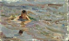Niño en el baño. 1905 Spanish Painters, Spanish Artists, Paintings I Love, Beautiful Paintings, Beach Paintings, Wave Drawing, Japanese Artists, Beach Art, Art Day