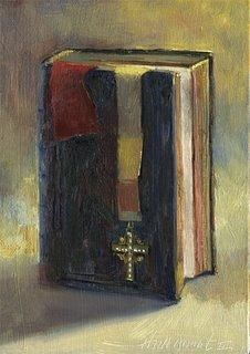 BIBLE AND CROSS  CHRISTIAN ART  7x5, painting by artist Hall Groat II