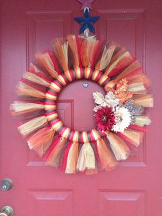 Tulle Fall Wreath with leaves on Etsy