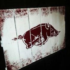 Pallet art. Arkansas Razorbacks. I made for Greg's game room :)