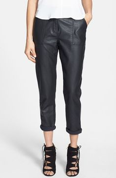 Topshop High Rise Tapered Faux Leather Trousers (Nordstrom Exclusive) available at #Nordstrom