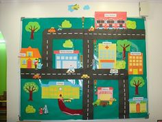 We are now doing the theme on My Community. Below is our theme board. Here, we depicted a normal neighbourhood scene with shops, people as w. Community Workers, School Community, My Community, Map Projects, School Projects, Projects For Kids, Social Studies Communities, Communities Unit, Preschool Social Studies