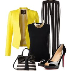 yellow blazer by ria-kostopoulou on Polyvore featuring moda, Nina Ricci, Emilio Pucci, Christian Louboutin, Betsey Johnson and GUESS