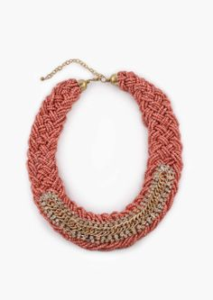 Coral Braided Beaded Necklace