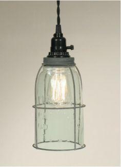 Half Gallon Caged Mason Jar Pendant Lamp  Click here to purchase: http://www.houzz.com/photos/28634593/lid=15141825/Half-Gallon-Caged-Mason-Jar-Pendant-Lamp-farmhouse-pendant-lighting