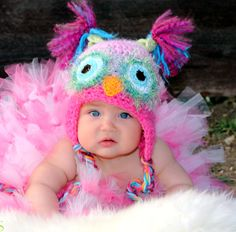 Pink Owl Hat PICK A SIZE, Pink and Pastel Owl Hat with Earflaps and Braids, use for a newborn photo prop. $28.00, via Etsy.