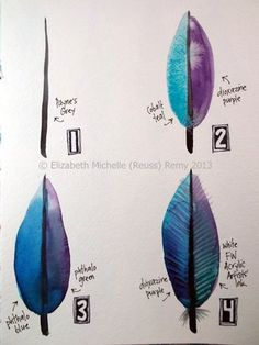 How to draw a watercolor feather tutorial
