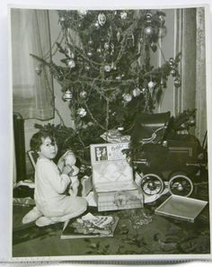 1936 vintage Christmas photo, little girl with doll
