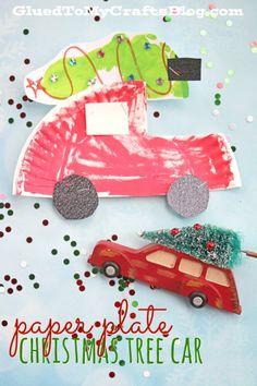 Paper Plate Christmas Tree Car - Kid Craft
