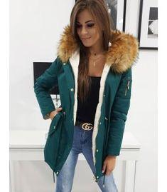Zimná obojstranná párka bunda zelená Beauty Snow Parka, Fur Coat, Vest, Snow, Jackets, Beauty, Fashion, Down Jackets, Moda