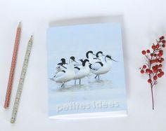 Notebook, carnet de note, petit cahier, journal intime, oiseau avocettes élégantes