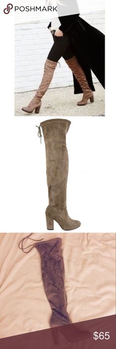 """Taupe Over The Knee Suede Boots Taupe Over The Knee Real Suede Boots. Features a chunky 4"""" heel, Rounded Toe, and a Drawstring Collar Tie at the back for a custom fit. The material is soft which makes it flexible for wide or thin calfs. No Trade. Price is Firm unless Bundled. 2+ Items 10% Off 3+ Items 20% GlamVault Shoes Over the Knee Boots"""