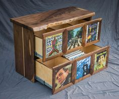 Vinyl record storage cabinet - media stand - with live edge wood slab Vinyl enthusiasts savor the tactile experience of looking at album covers, reading liner notes and feeling records at our fingertips. If youre music fanatics like us, you love flipping through stacks of records and