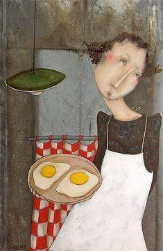 Magalie Bucher. Les Oeufs People Illustration, Illustrations, Illustration Art, Art Fantaisiste, Artist Art, Theme Design, Naive Art, People Art, Whimsical Art